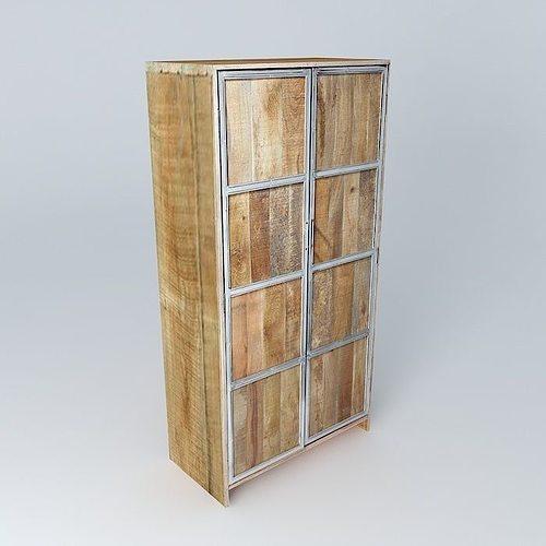 3d model armoire taiga maisons du monde cgtrader. Black Bedroom Furniture Sets. Home Design Ideas