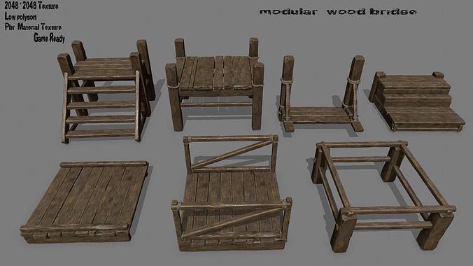wood  bridge  1 3d model low-poly obj mtl fbx blend 1