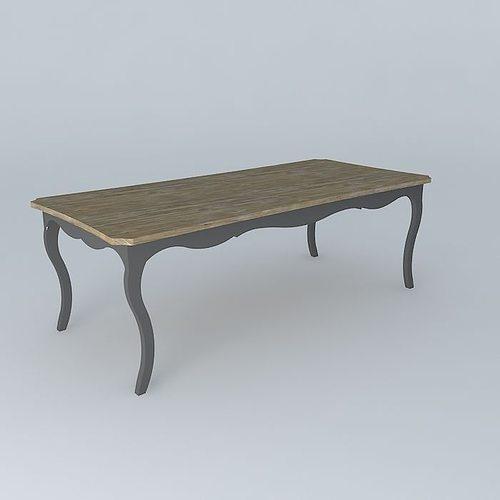 Dining table versailles maisons du monde 3d model max obj - Table beton cire maison du monde ...