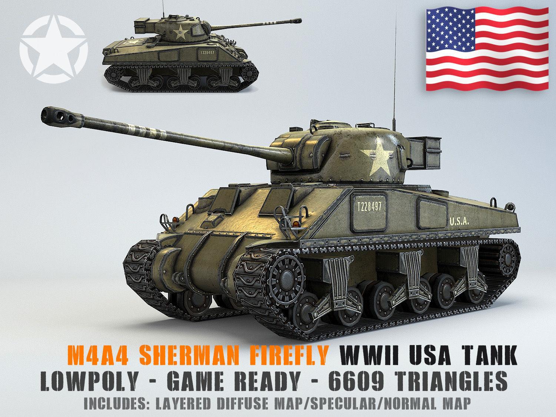 Low Poly M4A4 Sherman Firefly medium tank   3D model