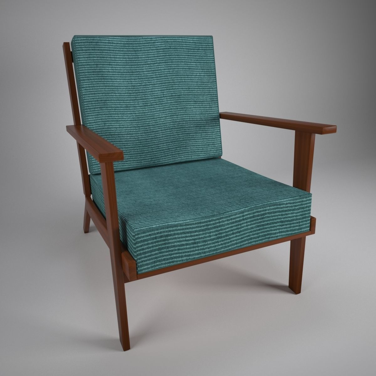 Wooden Armchair With Cushions 3d Model