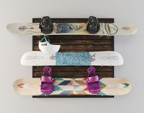 3D Snowboard storage set
