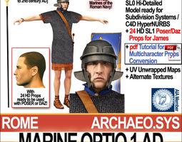 roman marine optio 1 ad with poser daz props 3d model obj 3ds c4d vue pz3 pp2