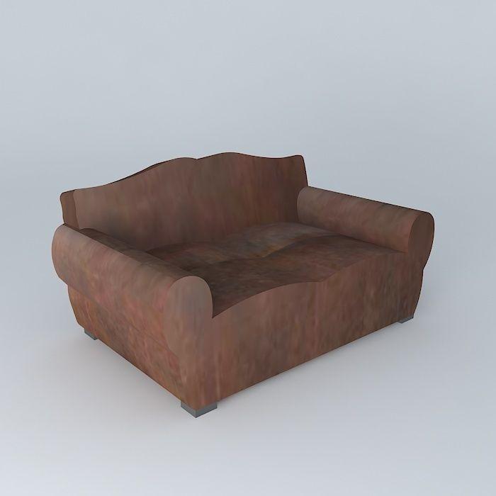 2 seater leather sofa MUSTACHE Maisons du monde | 3D model