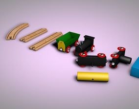 3D model Wooden Toy Trains Set