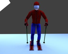 Skier 3D asset animated