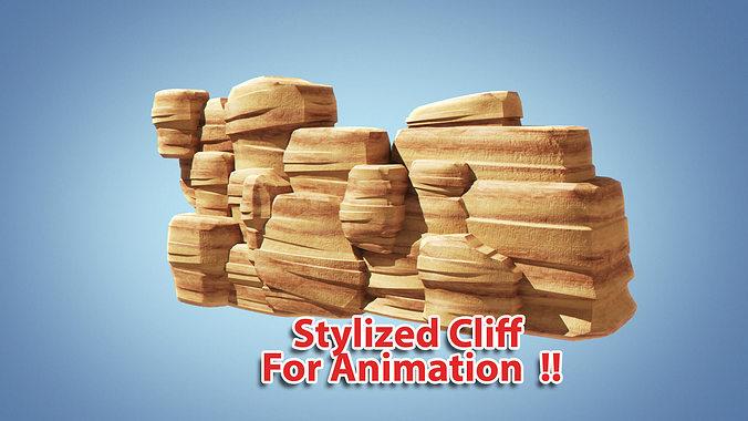 stylized cliff   3d model obj mtl 3ds fbx ma mb 1
