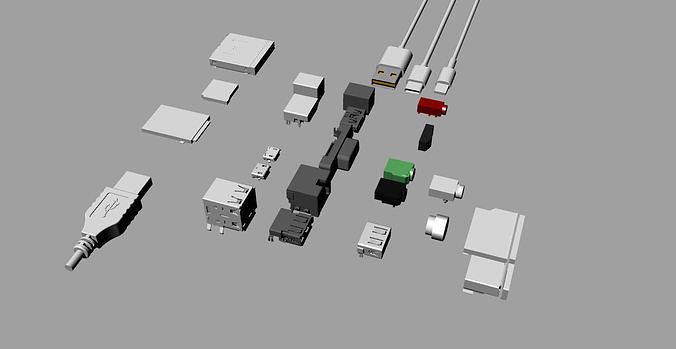 various electronic component interfaces 3d model 3d model obj mtl 3ds fbx stl 3dm skp 1