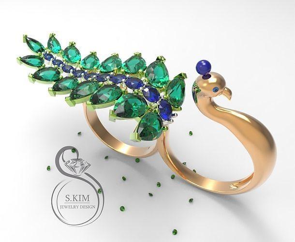 peacock peafowl ring two fingers dual 3d model stl 3dm 1
