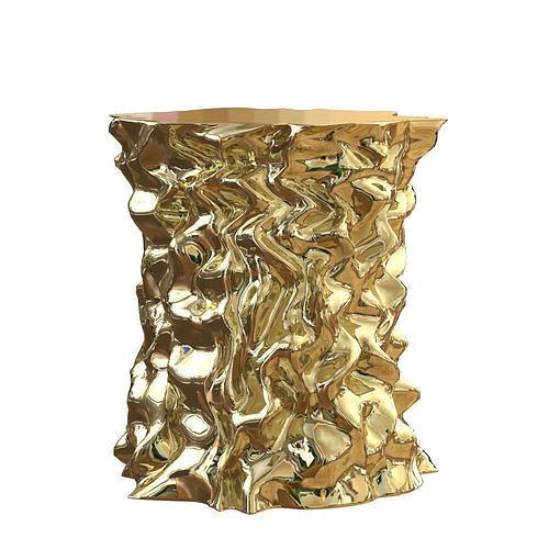 stool gold crumpled paper 3d model max obj mtl fbx 1