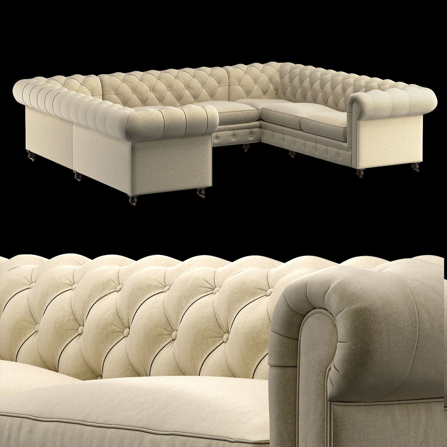3d Chesterfield Sofa U Shaped Cgtrader