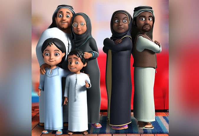 3d arab muslim cartoon familly 3d model rigged max 1