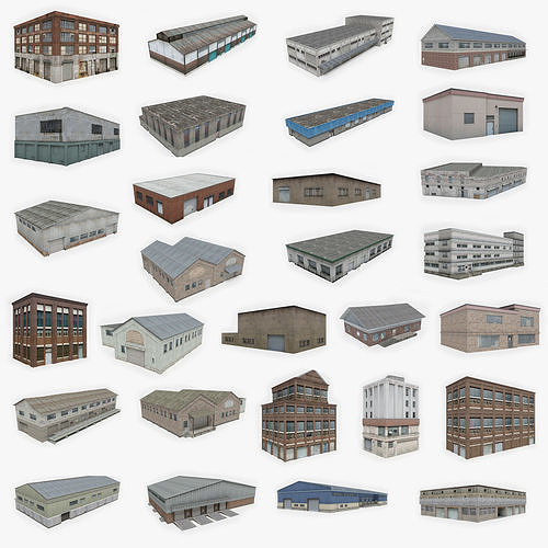29 industrial buildings collection 3d model low-poly max obj mtl fbx dae 1