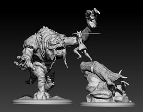 3D printable model Ahsoka and the Rancor