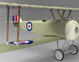 sopwith camel plane 3d asset VR / AR ready