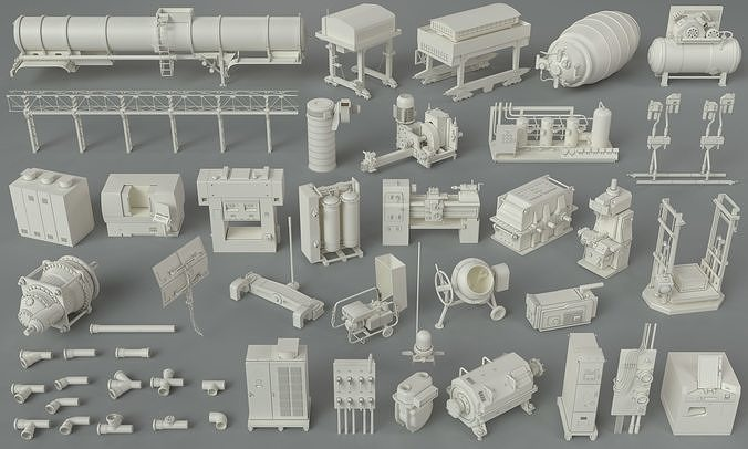 factory units-part-6 - 48 pieces 3d model max obj mtl fbx stl 1