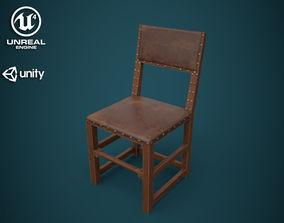 Medieval back stool chair 3D model VR / AR ready