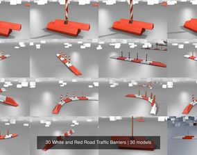 3D 30 White and Red Road Traffic Barriers