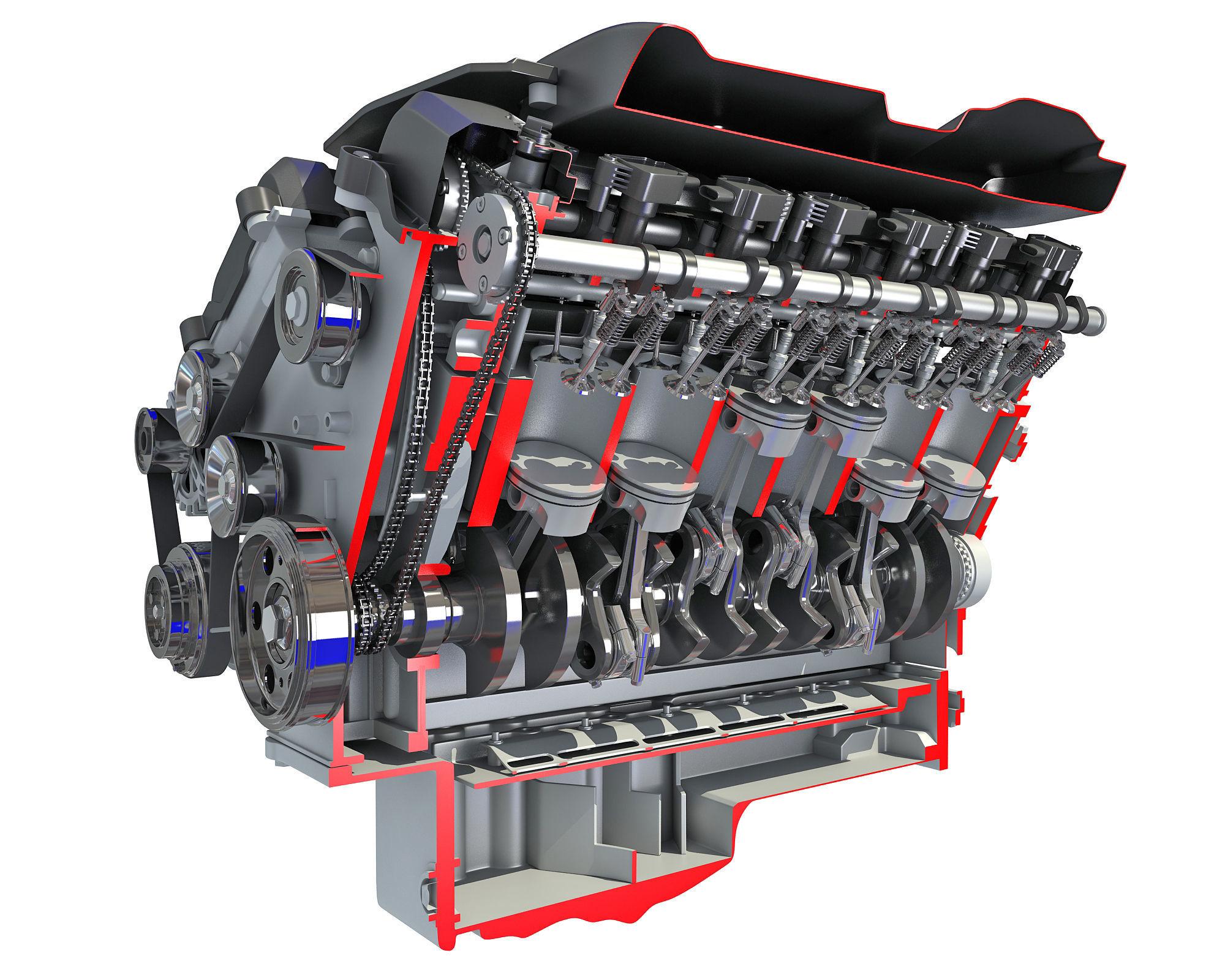 Sectioned V12 Engine