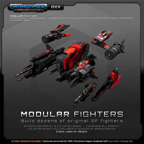 modular sf fighters gxx 3d model low-poly max obj mtl 3ds fbx tga 1