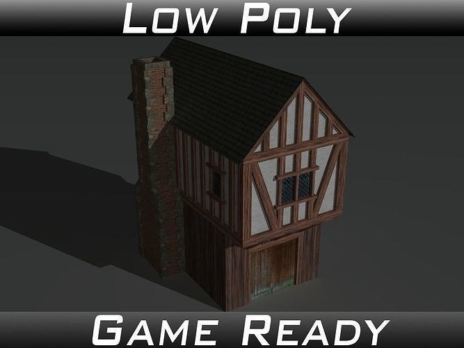 medieval building 01 3d model low-poly obj mtl 3ds fbx 1