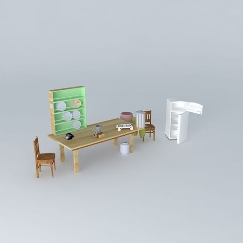 1950s rural kitchen set free 3d model max obj 3ds fbx for Model model kitchen set