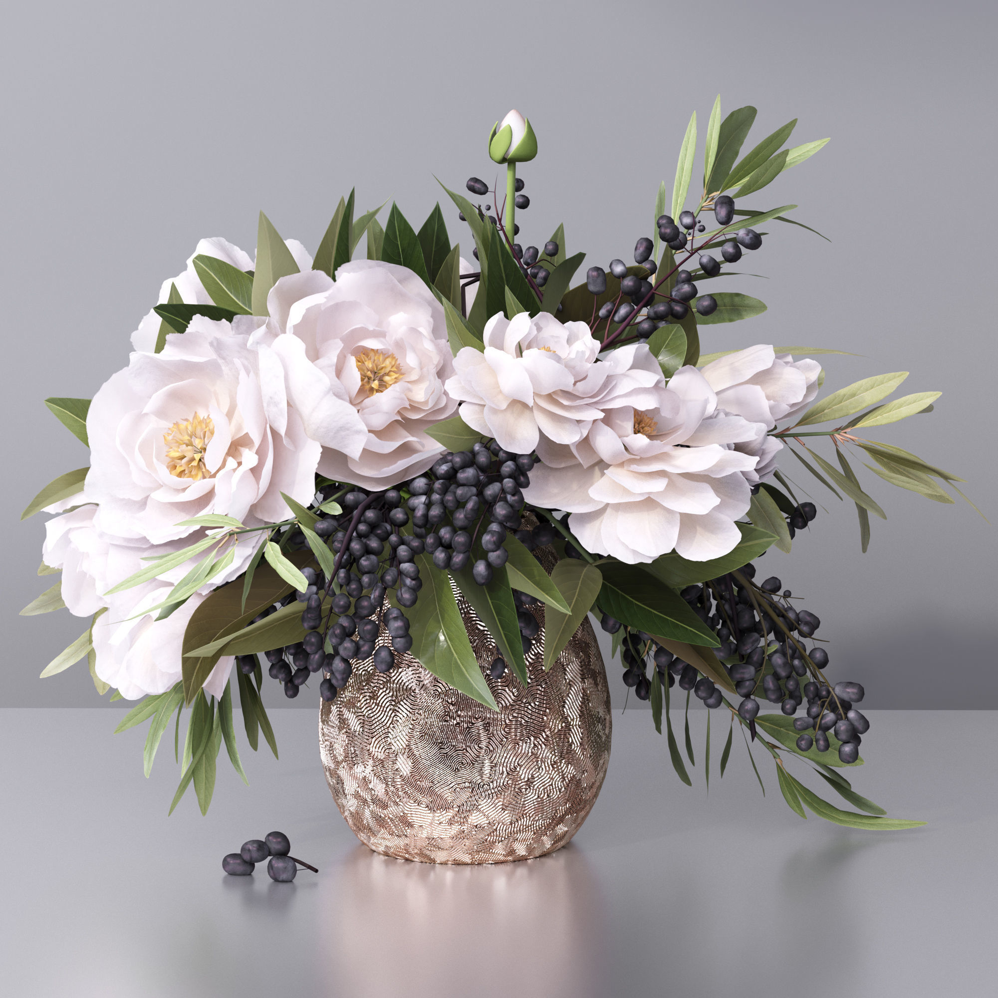 Classy Flower Vase Flowers Vase 3d Cgtrader