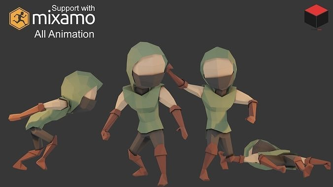 assassin character 3d model low-poly rigged animated obj mtl 3ds fbx 1