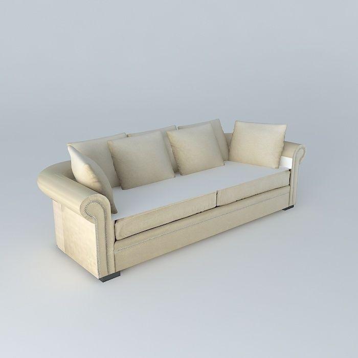 Plazza Natural Linen Sofa Maisons Du Monde 3d Model Max Obj 3ds Fbx Stl Dae  1 ...