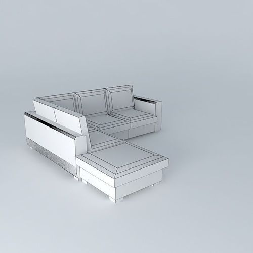 KENNEDY white leather sofa 5 seats Houses     3D Model  max  obj  3ds  fbx  stl  dae   CGTrader com