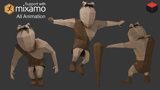 caveman character 3d model low-poly rigged animated obj mtl 3ds fbx dae 1