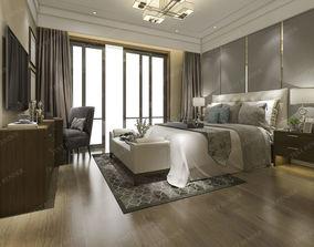 furniture luxury modern bedroom suite in hotel 3D