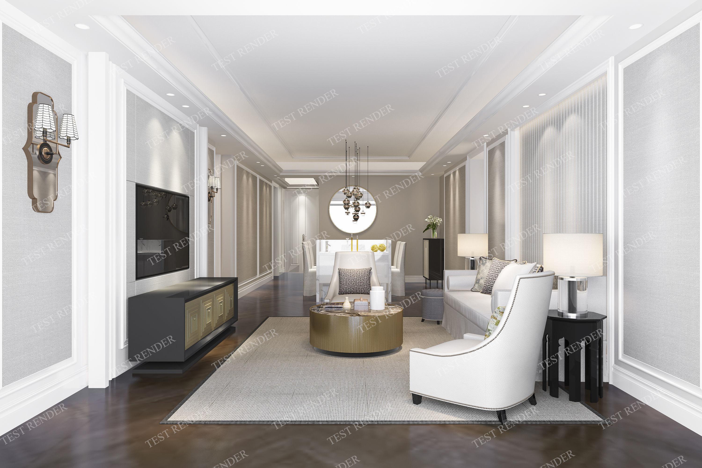 Modern European Clic Living Room Model