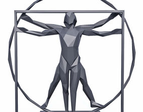 The Vitruvian Man Sculpture Low Poly 3D asset