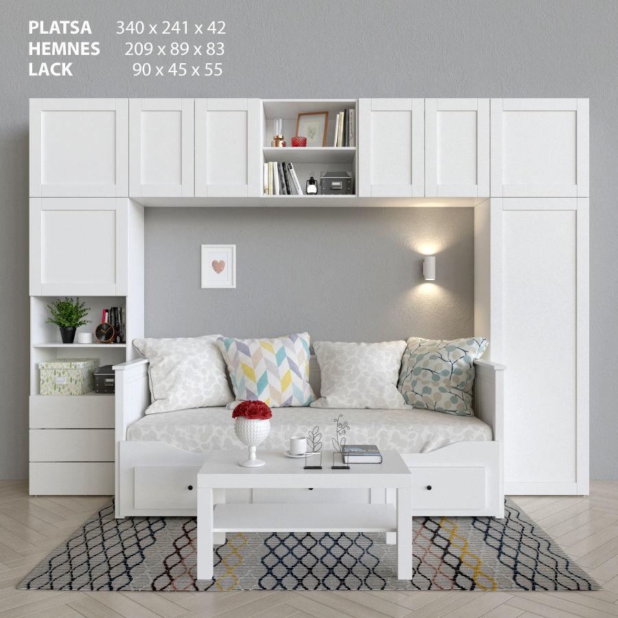 Wardrobe bed and table Ikea Platsa Hemnes Lack | 3D model