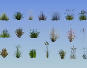 20 lowpoly grass set 3D model