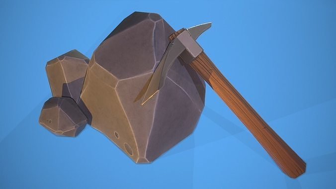 low poly stylized pickaxe and rock  3d model max obj mtl fbx tga 1