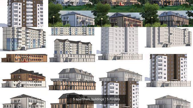 5 apartment buildings 3d model max obj mtl fbx 1