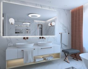 Luxurious bathroom with marble tile 3D model