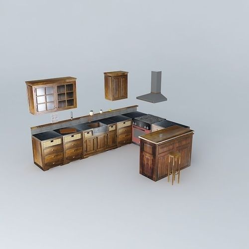 kitchen maisons du monde u luberon 3d model max obj 3ds fbx stl dae. Black Bedroom Furniture Sets. Home Design Ideas