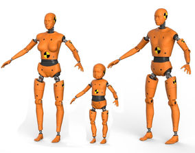 Robot Android family Crash Dummy Test 3D