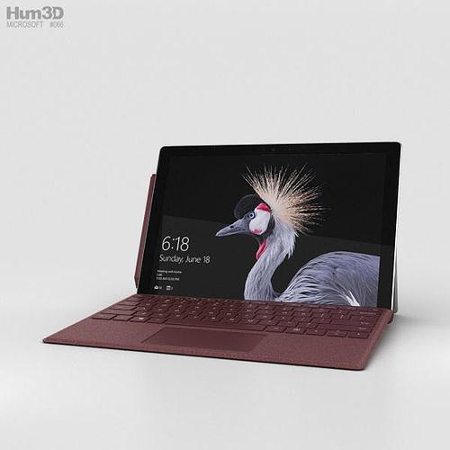 microsoft surface pro 2017 burgundy 3d model max obj mtl 3ds fbx c4d lwo lw lws 1