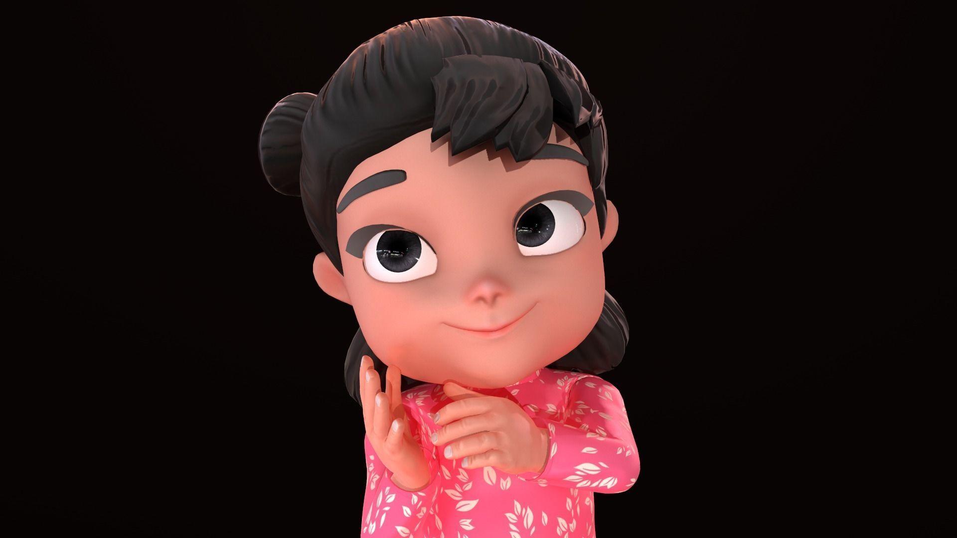 Asset - Cartoons - Character - Girl - Baby - Rig - 3D Models | 3D model
