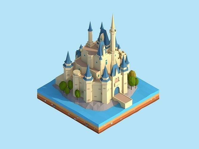 Cartoon Low Poly Disney Castle