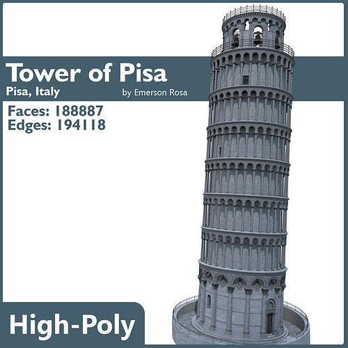 highly detailed tower of pisa 3d model max obj mtl fbx 1