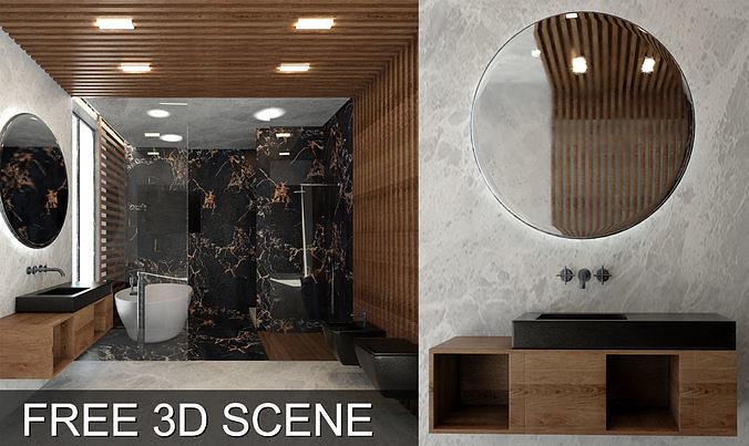 bathroom scene 3d models free - video timelapse in the previews 3d model max obj mtl 1