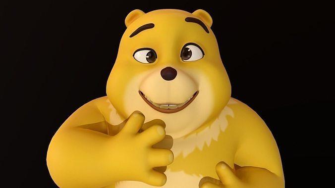 asset - cartoons - character - bear yellow - rig - high poly 3d model max obj mtl fbx ma mb hrc xsi tga 1