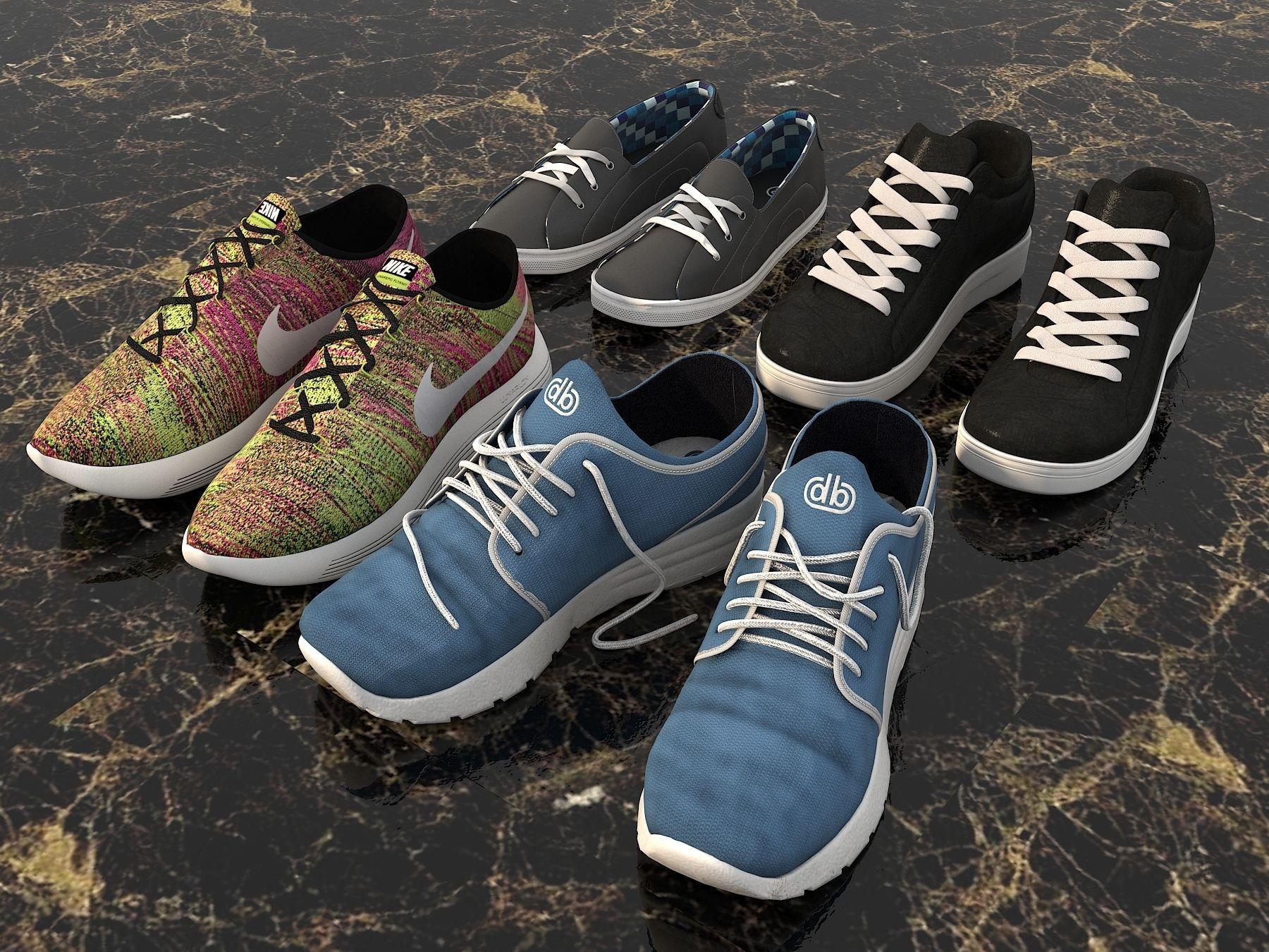 ... sport shoes collection set 3d model max obj mtl fbx 2 ... 83842476a