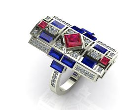fashion ring with fancy stones 3D printable model