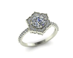 engagement ring with colorful stones 3D print model